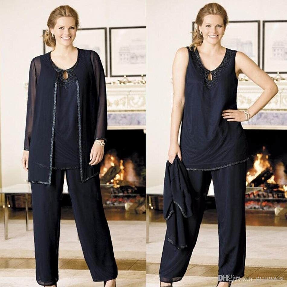 17c4933063 Navy Blue Mother Of The Bride Pant Suits With Jacket Beads Plus Size  Wedding Guest Groom Dress Cheap Mothers Outfit Long Garment