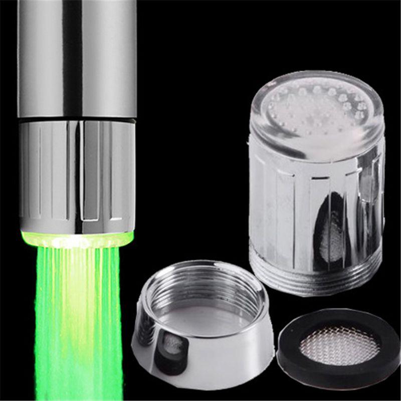 LED صنبور المياه الخفيفة ستريم 7 ألوان تغيير الوهج دش الضغط الحنفية رئيس مطبخ الاستشعار حمام الحنفيات الحنفيات ملحقات