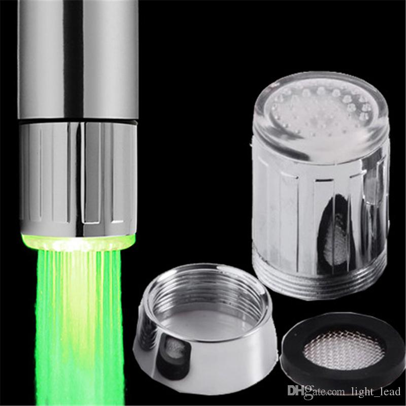 LED Water Faucet Stream Light Changing Glow Shower Tap Head Kitchen Pressure Sensor Bathroom Faucets Taps Accessory