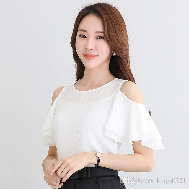 c0e832a0530 2019 White Off Shoulder Top Women Ruffle Chiffon Blouse 2017 Summer Elegant  Ladies Office Shirts Big Size Camisa Feminina From Kings0721, $13.63 |  DHgate.