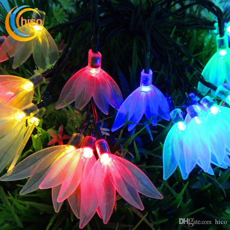 outdoor led christmas lights solar led string four leaf flower 48m 20 leds waterproof perfect decoration party wedding home string globe lights fairy