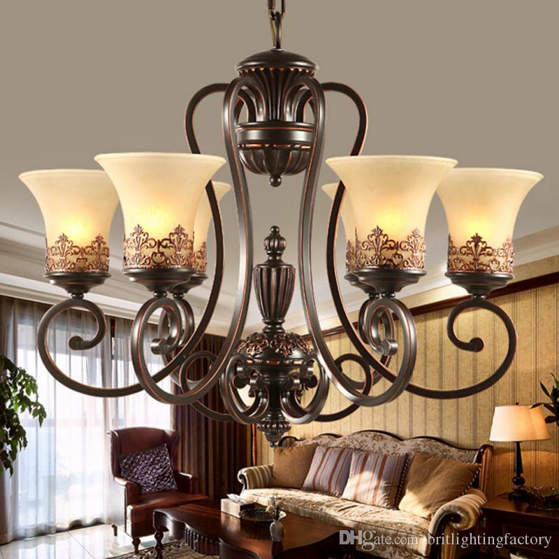 Antique Black Wrought Iron Chandelier Rustic Arts U0026 Crafts Bronze Chandelier  With 8 Lights Cream Shade Chandeliers Living Room Pendant Lamp Pendant Lamp  ...