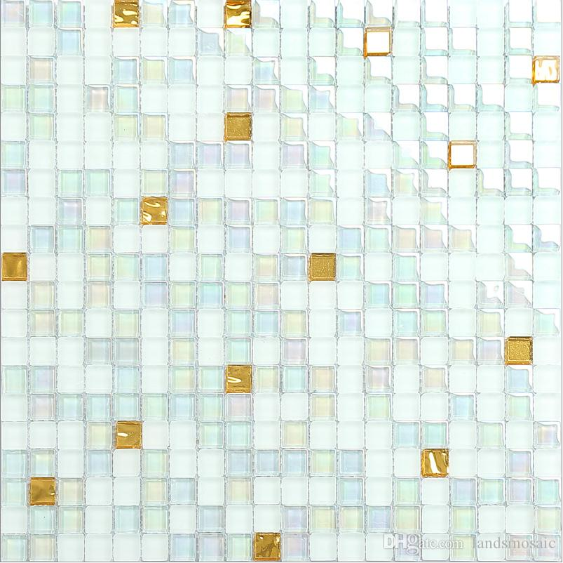white mix rainbow color glass mosaic tiles modern style wall decor tileshigh quality waterproof glass tiles