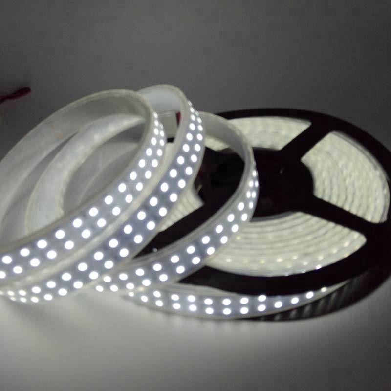 DC12V 5M Double Row 3528 SMD Rubber Tube Waterproof White Flexible Strip Light 240LEDs/M 1200LEDs/Roll Super Bright LED Strip