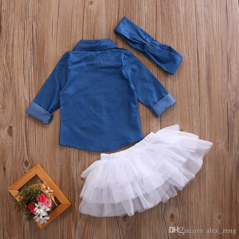Baby Girl Denim Fashion Set Clothing Children Long Sleeve Shirts Top+Shorts Skirt+Bow Headband Outfits Kid Tracksuit