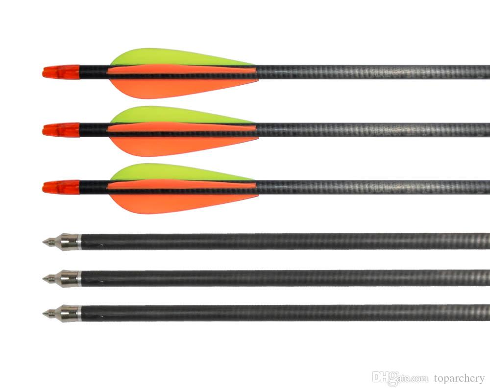 Archery 31'' Carbon Fiber Shaft Arrows Spine 400 for Compound Recurve Bow with Field Points Hunting Shooting Outdoor
