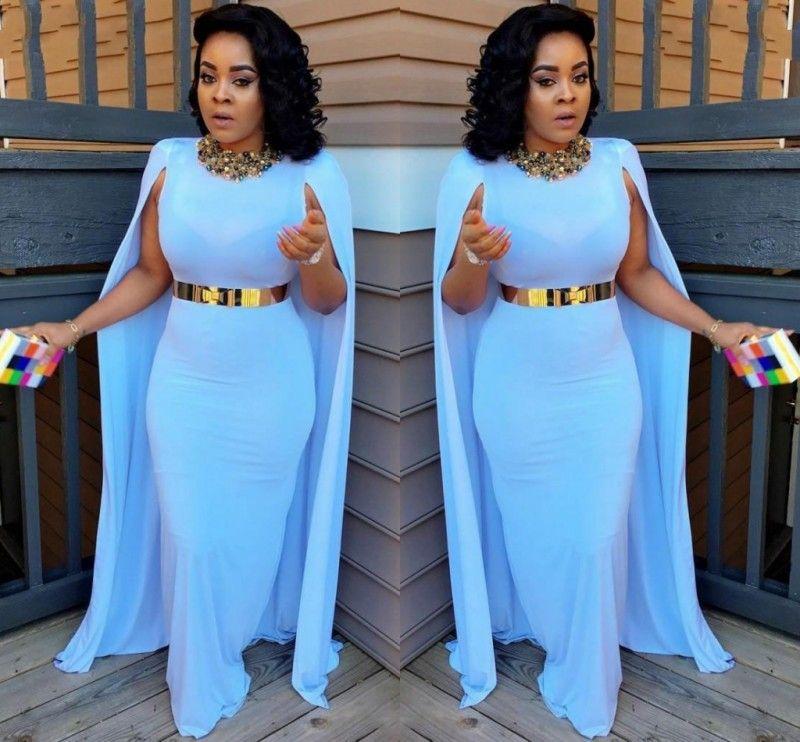 Light Blue Plus Size Cape Style Prom Dresses 2017 Sheath