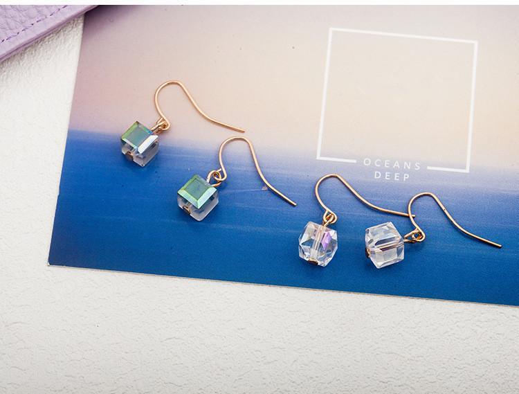 Orecchino quadrato di cristallo placcato oro antico di modo dell'orecchino di pesce dell'oro di MultiSurface Orecchini di pendente delle donne del candeliere antico di trasporto libero
