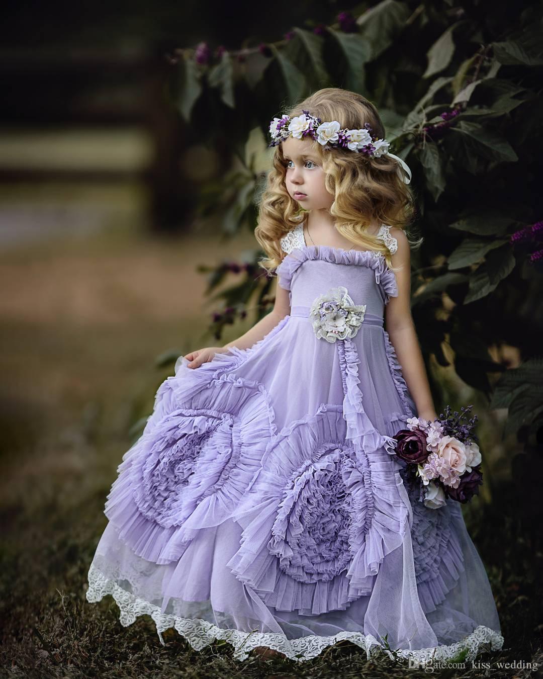Cheap Lilac Floor Length Junior Bridesmaid Dresses For Weddings A Line Graduation Gown Children Toddler Prom Dress Girls Custom Made