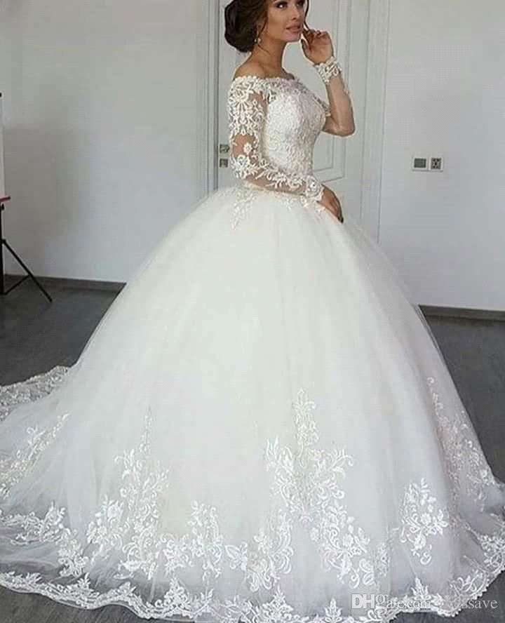 Sexy Ball Gown Wedding Dresses Long Sleeve Sheer Illusion Chapel Train Church Custom Lace Applique Bridal Gowns