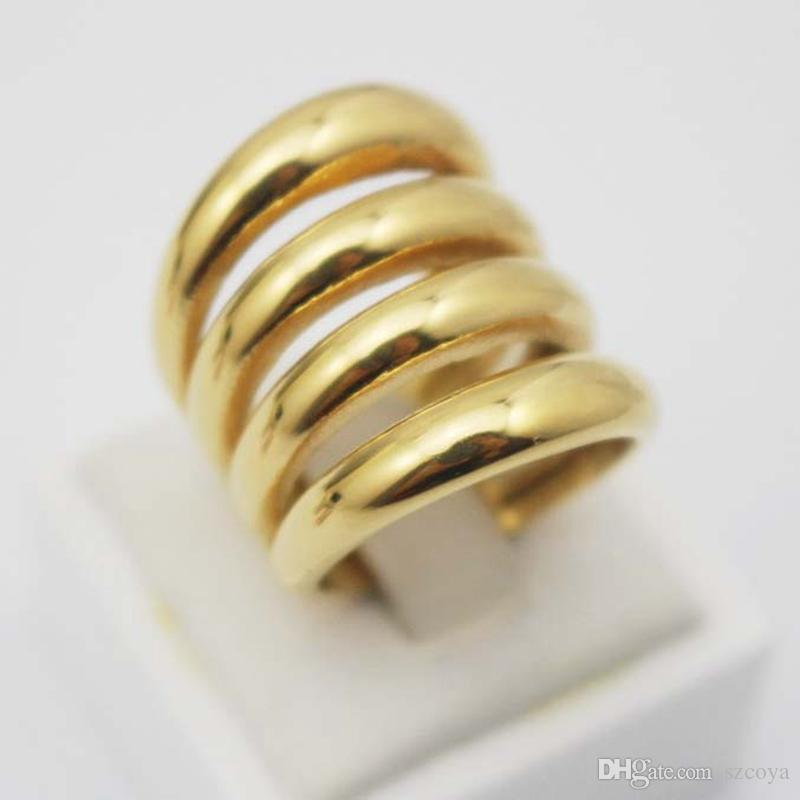 Rose Gold color Stainless Steel Ring Wide Party Rings Silver Band Biker Wedding Rings Womens Gold Rings Wholesale Jewelry