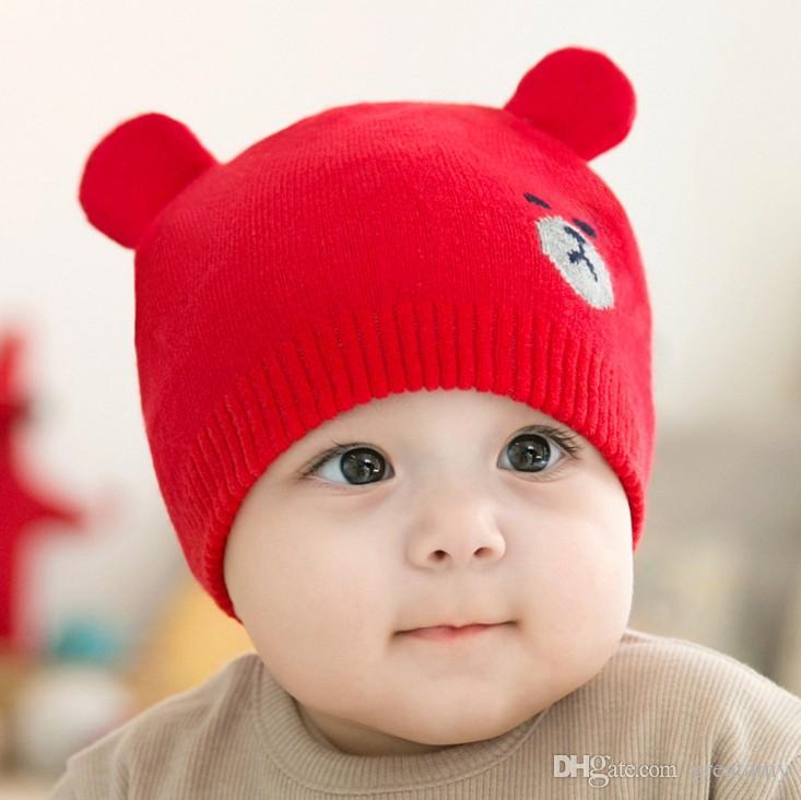 Korea Winter Baby bear Knitted Hat Infant cartoon Caps toddler Outdoor warmth hats baby girls boys beanie cute baby bear ear beanies