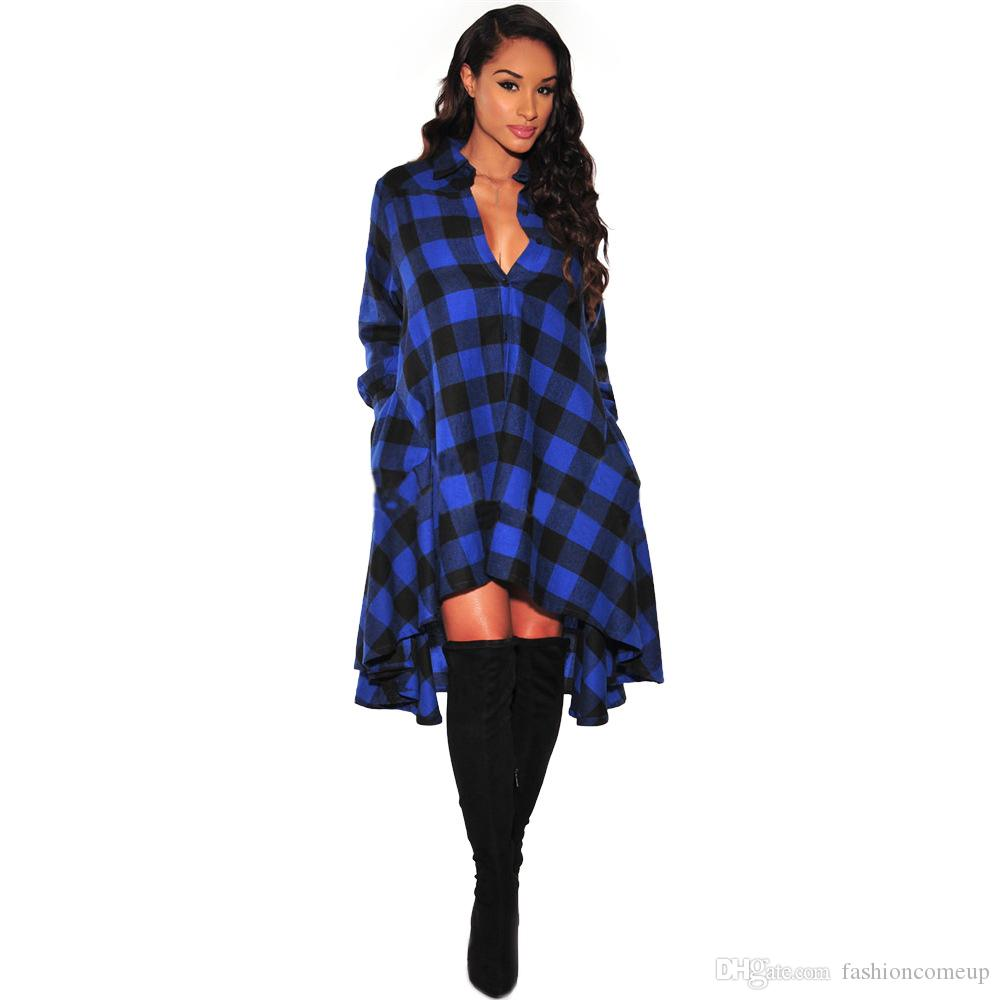 Inverno donne plaid dress irregolare polo scollo a V allentato camicie pulsante manica lunga cardigan cappotto le signore sexy vestidos senza cintura SF11-33