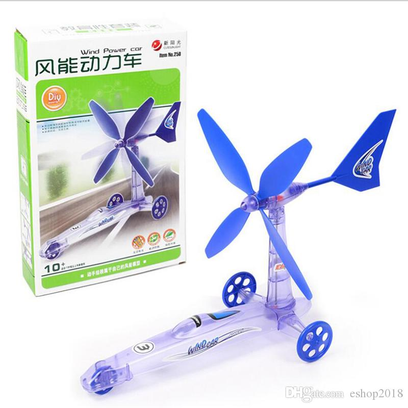 Science and technology small production of children puzzle experiment toys wind power car toys DIY strange new science and education toys