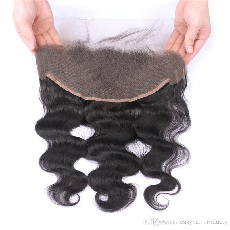 Mongolian Body Wave Human Hair Bundles With Lace Frontal Closure 13*6inch Virgin Wavy Hair Weaves With Closure G-EASY