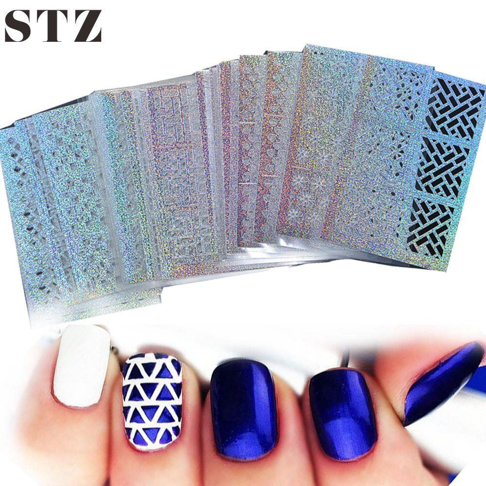 Stz 24 Sheet Sets Diy Nail Vinyls 24syleshollow Irregular Stencils Stamp Art Manicure Sticker Laser Silver Stzk01 Toe Stickers Vinyl