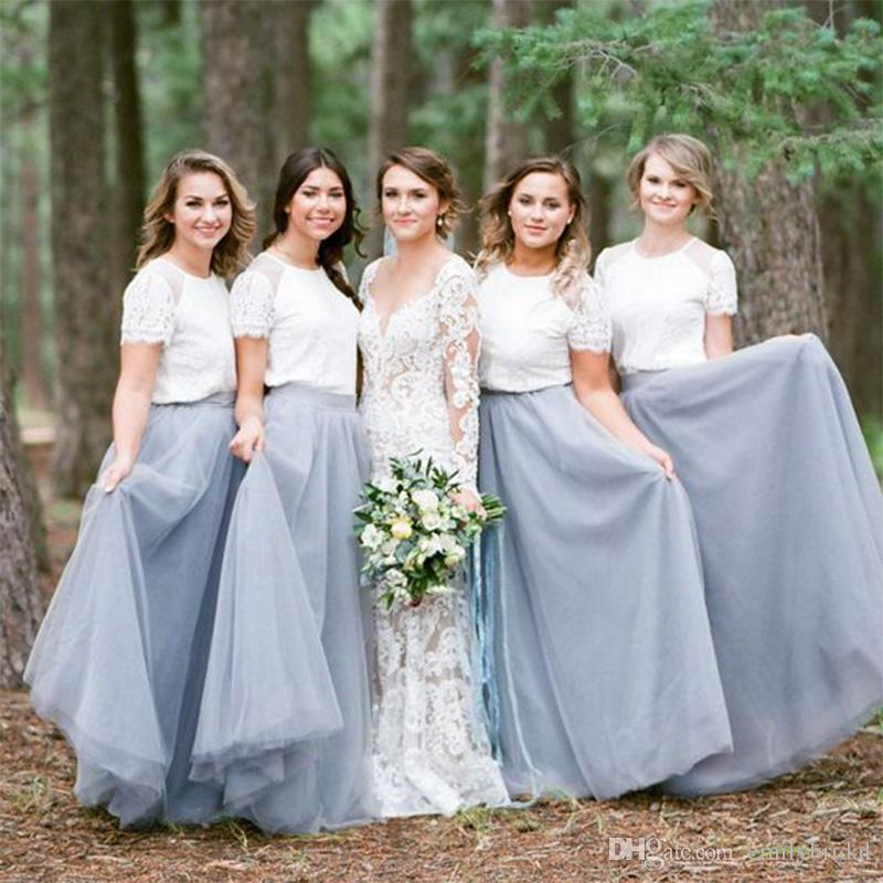 Country Dusty Blue Bridesmaid Dresses 2017 Elegant Long Tulle