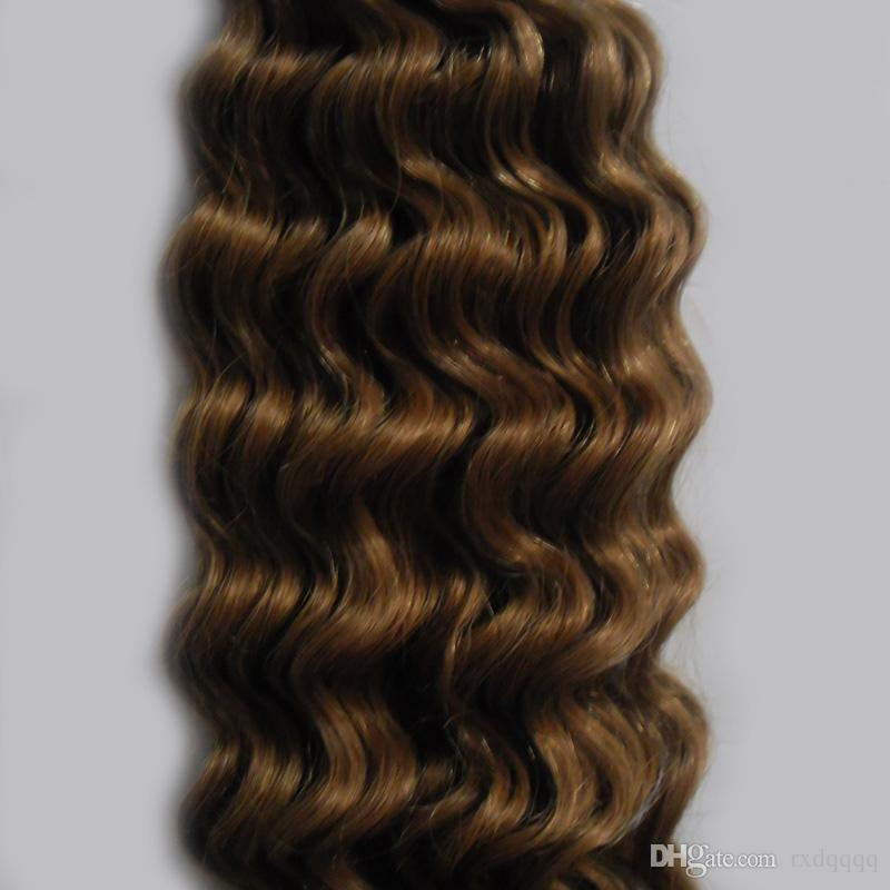 Ruban Brun Clair En Extensions De Cheveux Humains 100g 100% Vierge Remy Naturel Cheveux Humains vague profonde Bande Adhésive Dans Les Cheveux Humains
