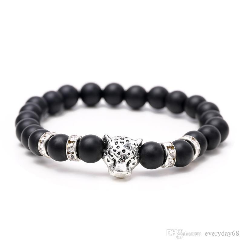 Горячие продажи новые Leopard One Piece Шарм эластичный браслет природные камни из бисера для женщин мужчины ювелирные изделия