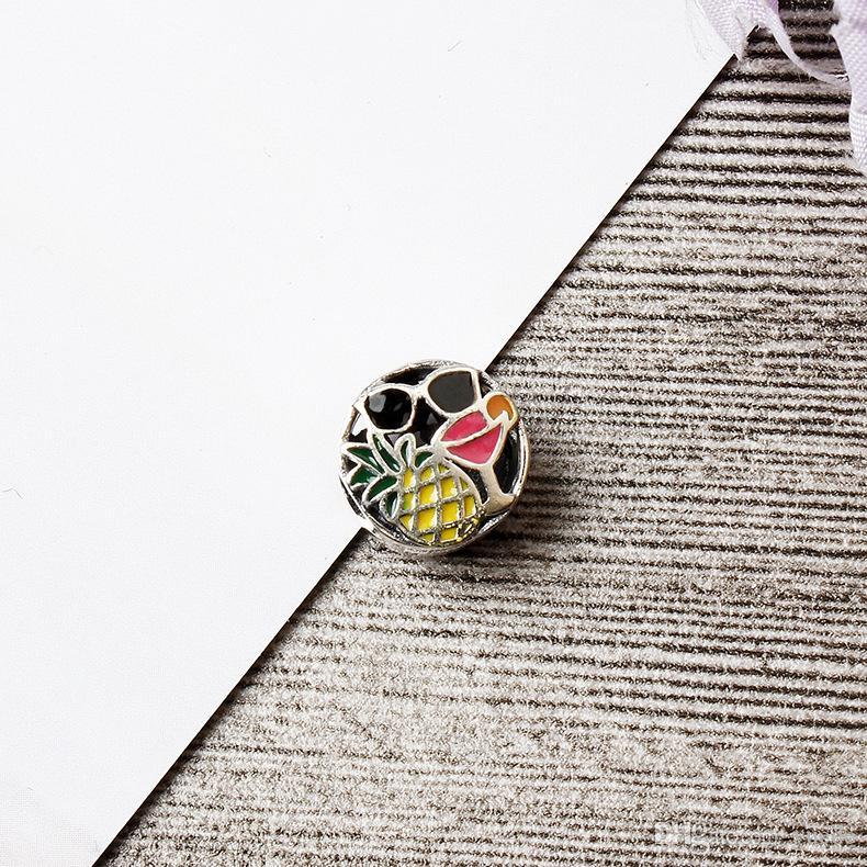 2017 تعزيز حجية 925 فضة الأناناس الخرز صالح باندورا سوار diy الماس الكامل الأصلي الأبيض تشيكوسلوفاكيا سوار مجوهرات
