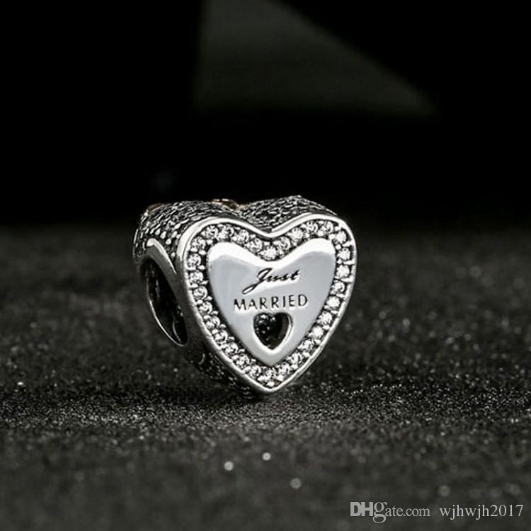 سحر قلب الزفاف الخرز لصنع المجوهرات أصيلة 925 فضة تمهيد واضح كريستال طبقتان الخرزة diy ماركة أساور اكسسوارات