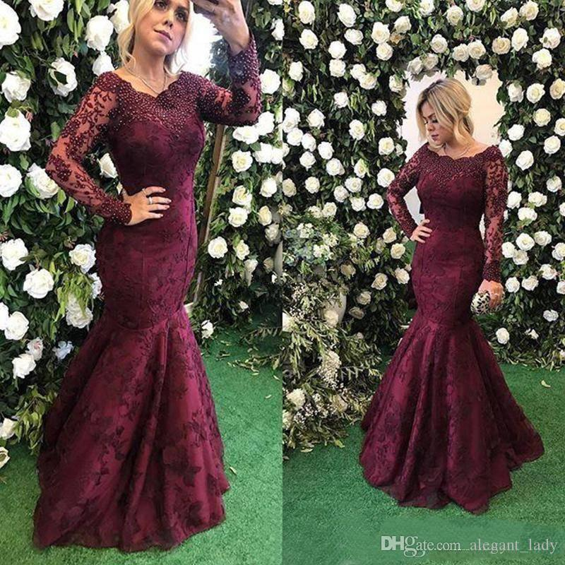 Burgundy Lace Beaded Mermaid Evening Dress Wear 2018 Sexy Illusion Long Sleeve Full length Fishtail Occasion Prom Party Gowns
