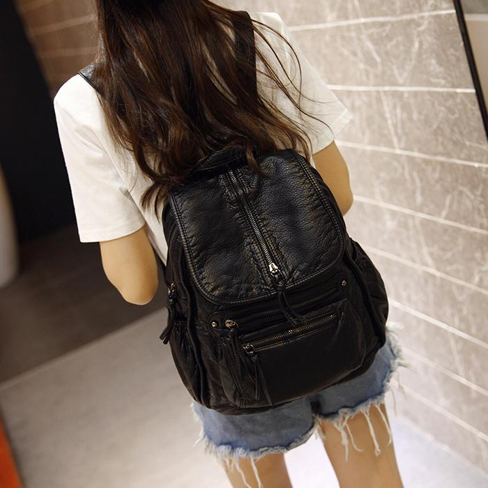 Wholesale Fashion Black Color Washed Leather Backpacks Korean Style 2016  Winter Rivet Women Backpack Daily Travel Bags Justice Backpacks Camping  Backpack ... 6bf7bc974e