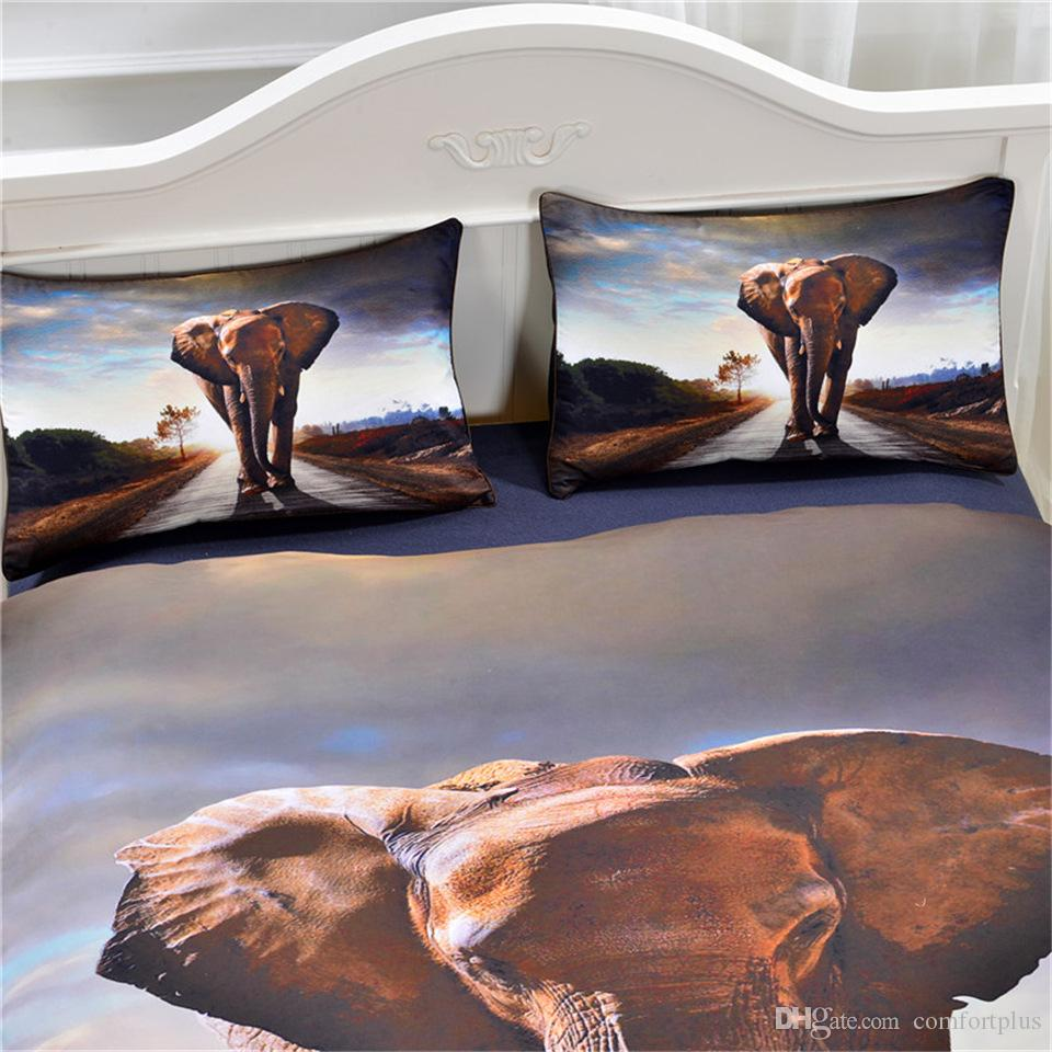 3D Animal Design Bedding Set Of Owl Wolf Elephant Duvet Cover Set Quilt Cover With Pillowcase Twin Full Queen King Size 7 Designs