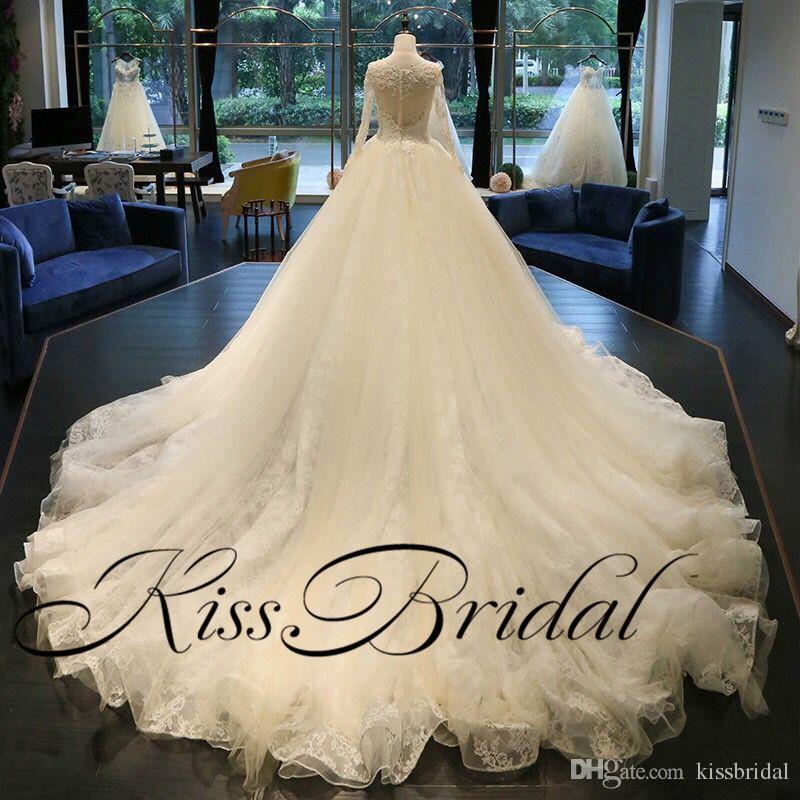 Foto reali Splendidi abiti da sposa Bing Bling che borda maniche lunghe abito Dubai Dubai abiti da sposa