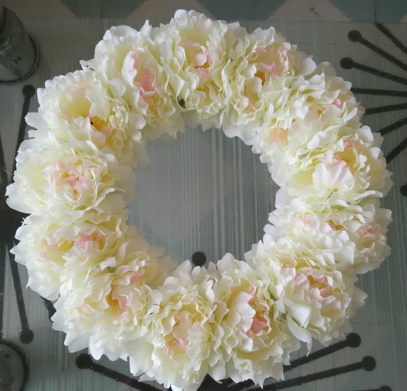 2018 Decorative Flowers Wreath,16 Inches White Penoy Wreaths ,Home ...