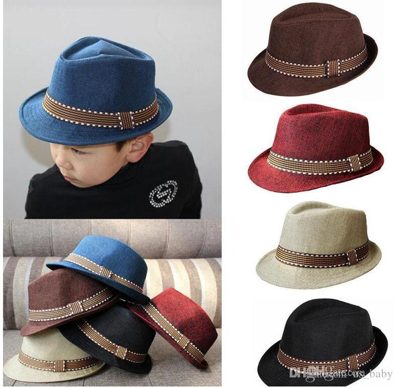 3acc9b04833 Kids Fedora Hat Boys Unisex Billycock Cap for Children Classical Cool Jazz  Feminino Trilby Sombreros Choose Kids Fedora Hat Classical Style Cap Online  with ...