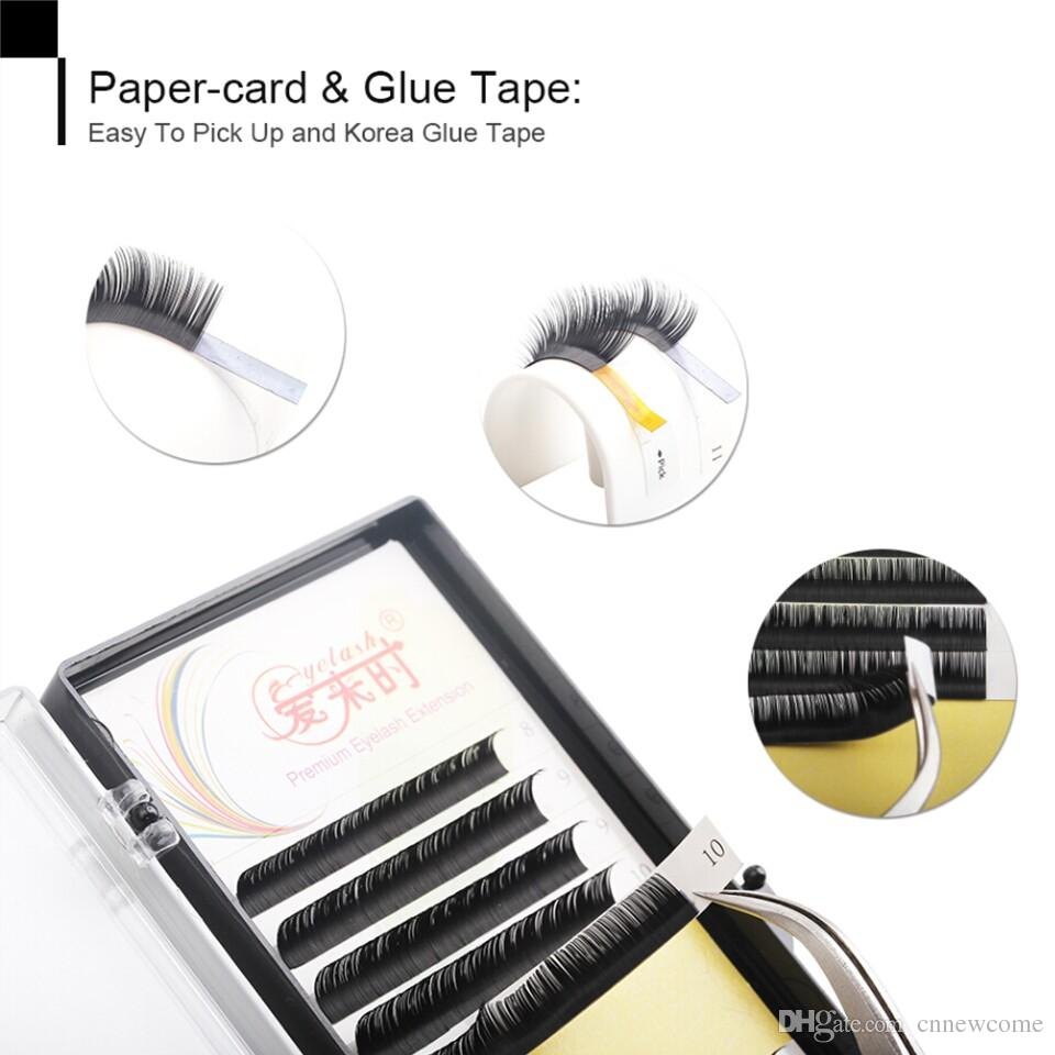 eyelash extension d curl 12rows/case 1trayindividual eye lashes hand made 8-15cm with