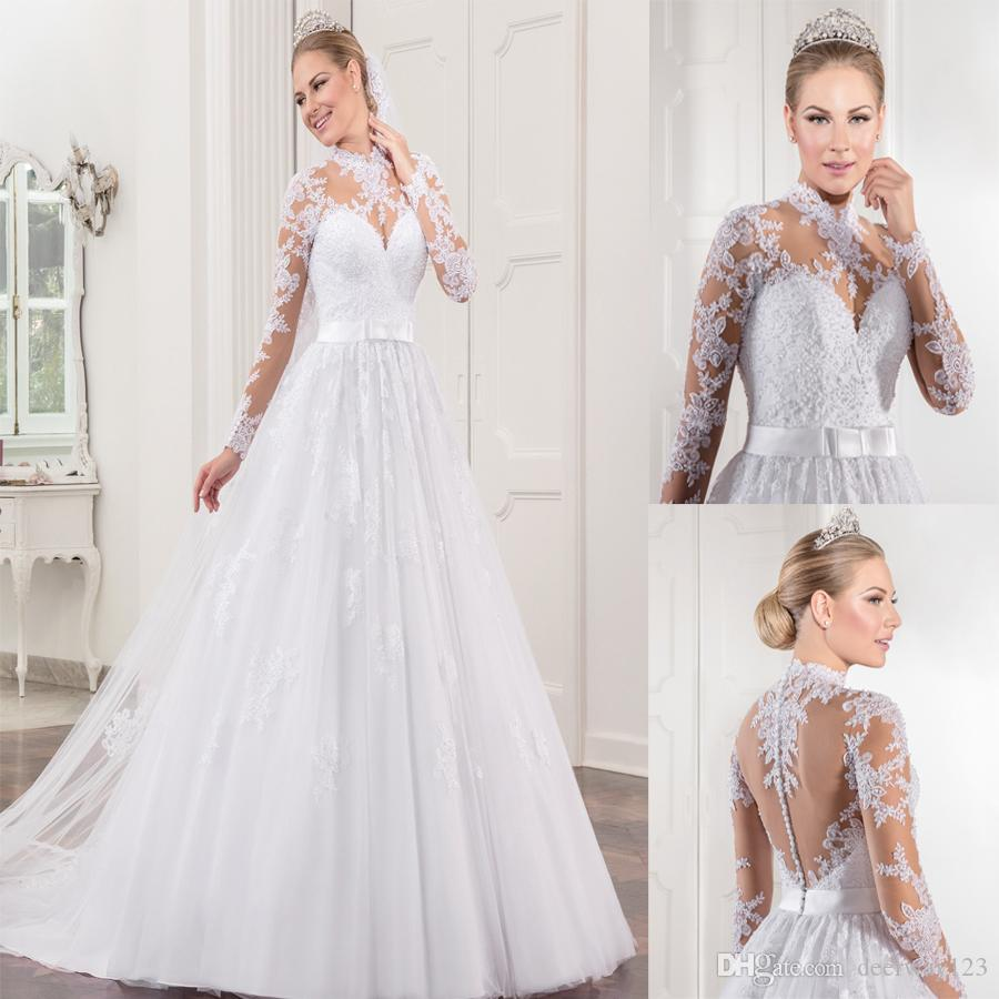 Discount Vestido De Noiva High Neck Lace Long Sleeves Wedding Dress ...