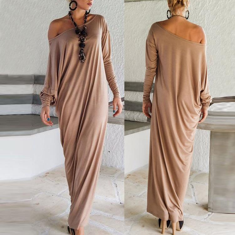 91f5a2c84d41 Loose Hooded Maxi Dresses Women's Knit Off-Shoulder Wrap Dress Casual Long  Sleeves Plus Size Party 2017 Autumn Winter