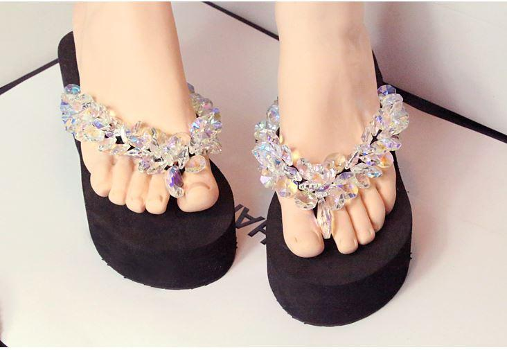 0d1c96f80b81aa Crystal Transparent Jelly Slippers Rhinestone Beaded Platform Wedges ...