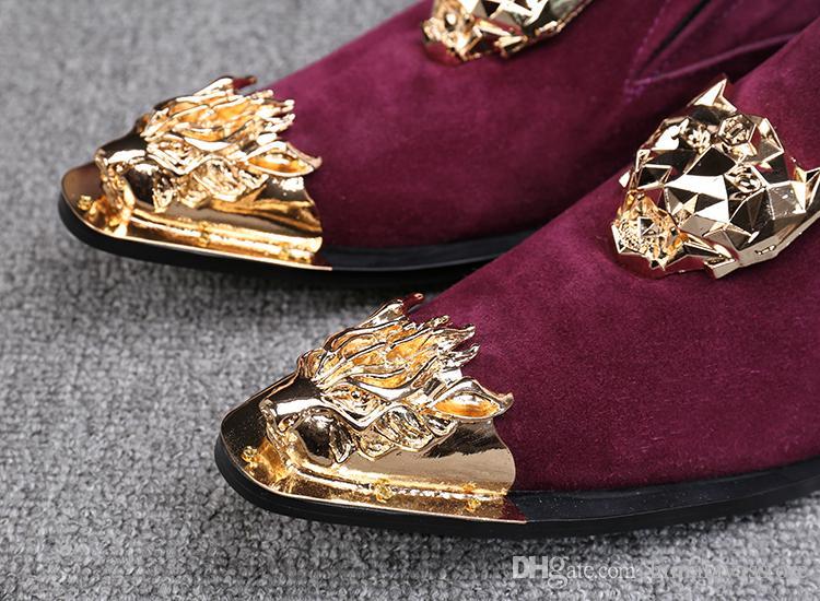 Italien De Style De Luxe Hommes Gentleman En Cuir Véritable Robe Chaussures Hommes En Métal Pointu Pointe Rivets Hommes De Mariage Partie Oxford Chaussures Appartements