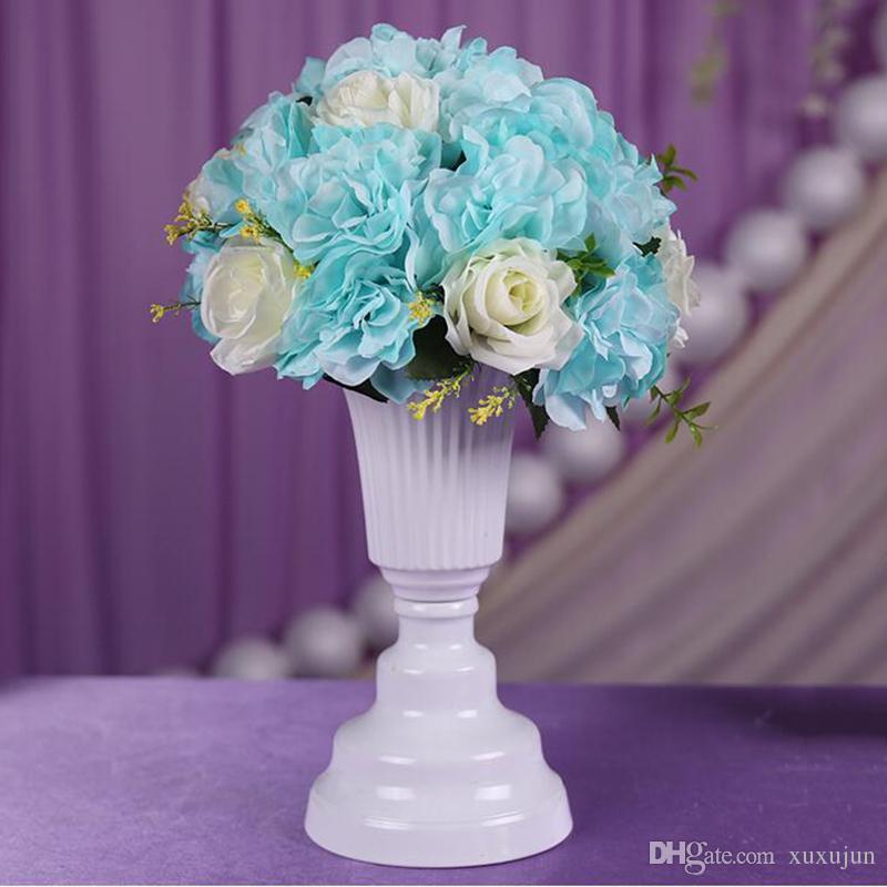 화이트 메탈 테이블 플라워베이스 실버 테이블 탑 꽃병 홈 웨딩 Centerpieces 꽃 공예품 장식