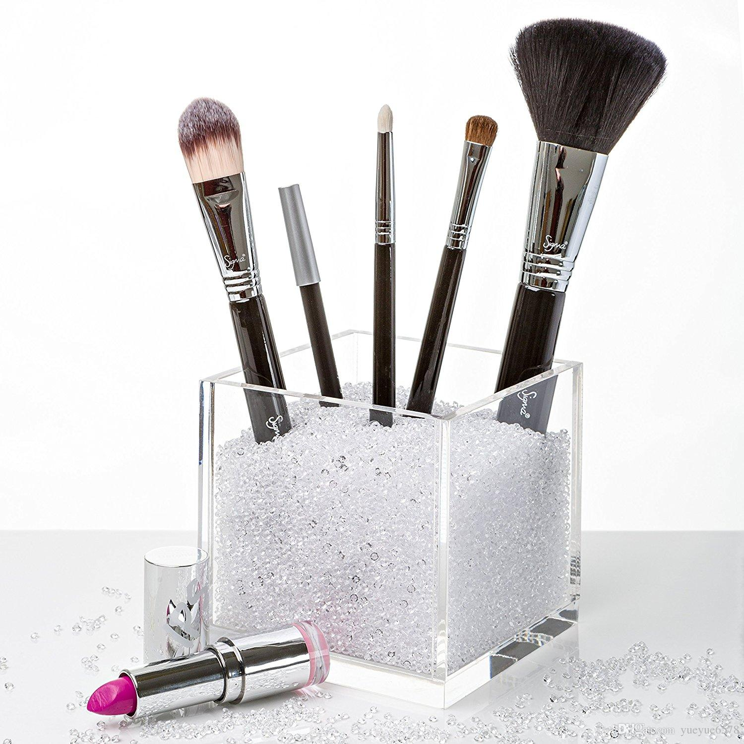 brush holder beads. 2018 acrylic square make up box ,plexiglass makeup brush holder countertop cosmetic organizer with crystal stones beads from yueyue6578, $23.12 | dhgate.com