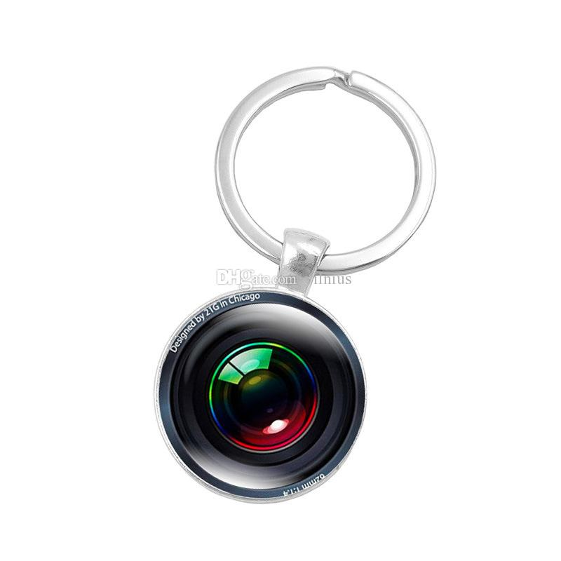 Hot!Silver Color Key Chain Camera Lens Keychain Jewelry Handmade Art Glass Pendant Keyring Key Ring for Women New Gifts
