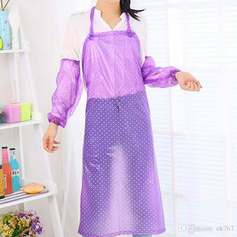 2017 nuova moda impermeabile a prova di olio e impermeabile grembiule da cucina casa di plastica trasparente abiti da lavoro lunghi