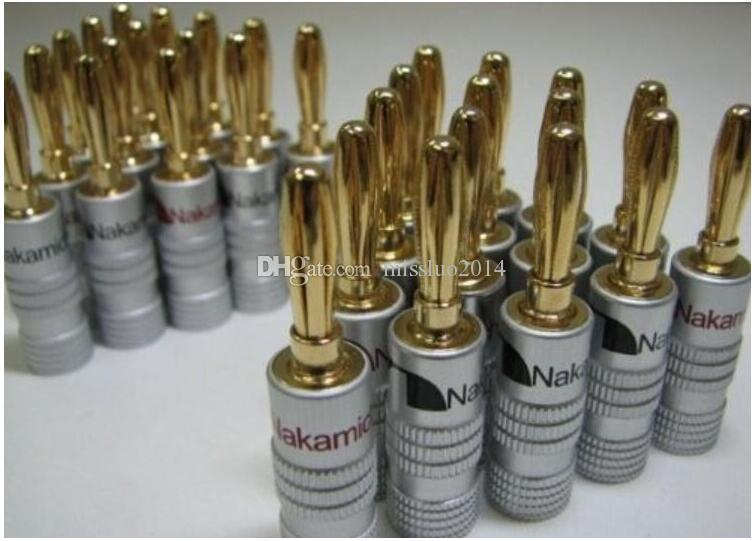 Wholesale High Quality Nakamichi 24K Gold Speaker Banana Plugs Connector DHL FEDEX TNT