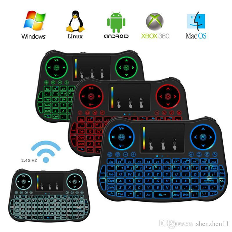 New Air Mouse Remote Rii Mini MT08 Android TV Boxes Keyboards Backlight Backlit 2.4GHz Wireless Keyboard OTH655
