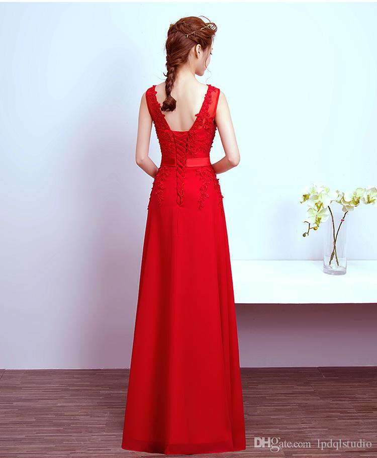 Élégante mère de la mariée Robes Bleu, Rouge, vin, gris clair à long mariage Robes de soirée Scoop avec Sheer pas cher Robe de Mère Perles Applique