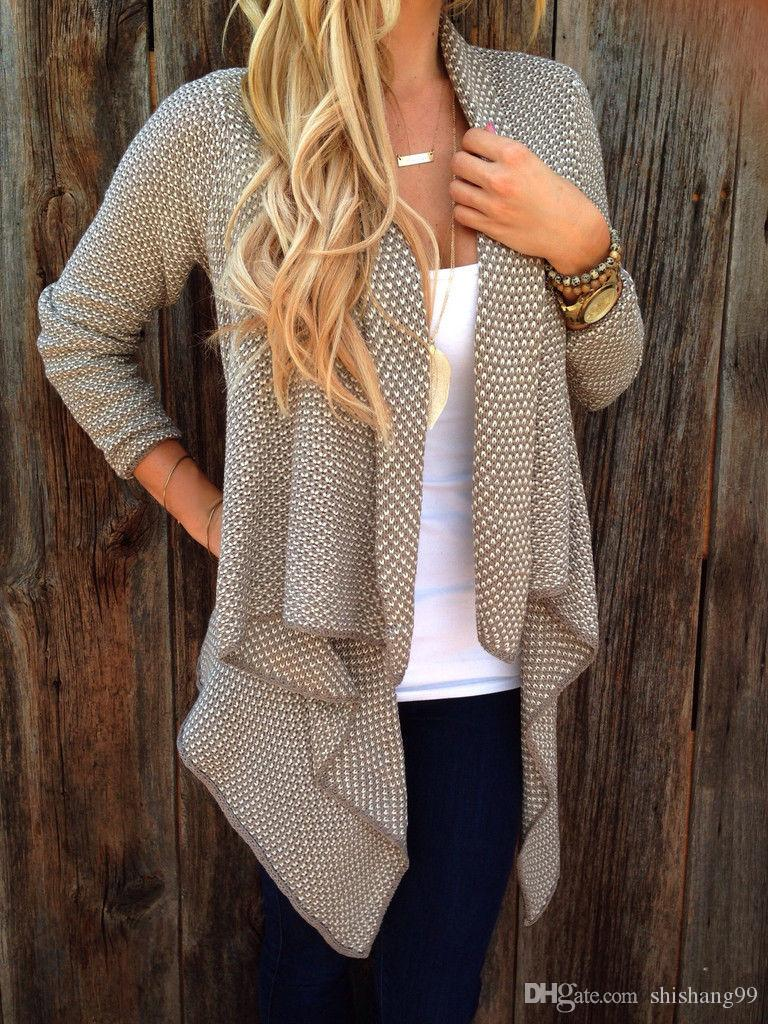2017 Hot Sale Autumn Winter Fashion Women Loose Knit Waterfall ...