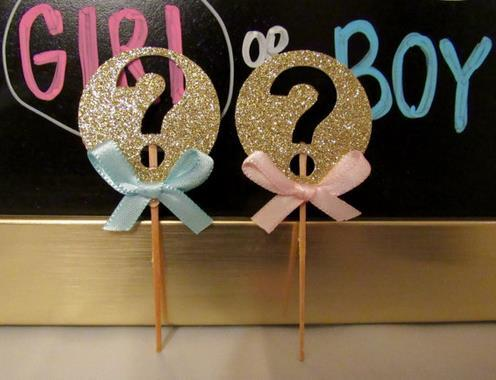 cheap custom 30pcs Gender Reveal cupcake Toppers baby bridal shower girls birthday wedding Party Decoration supplies Event