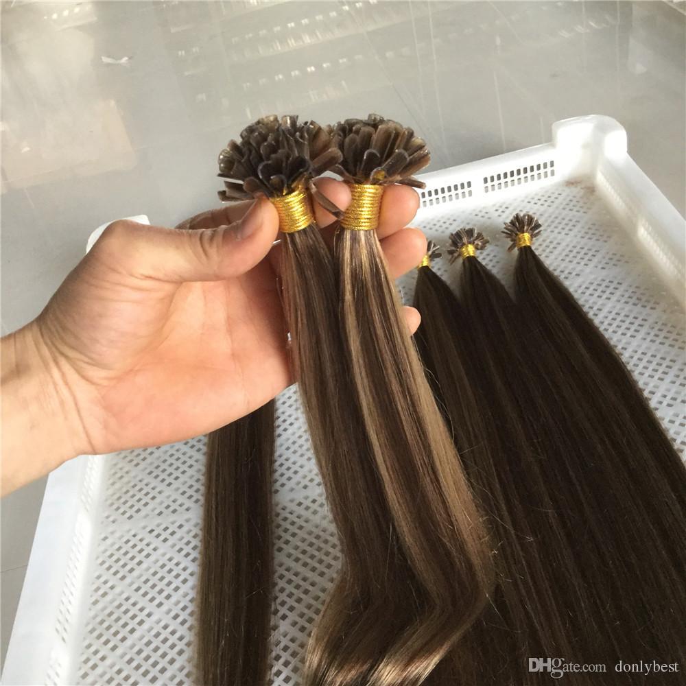 Peruvian Virgin Human Hair Pinao Color4613 Nail U Tip Hair