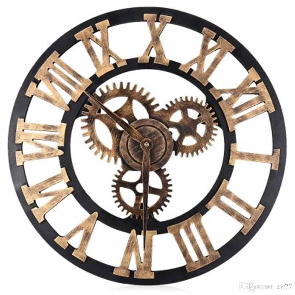 Wall clock wheel gear antique wooden round rustic roman numerals wall clock wheel gear antique wooden round rustic roman numerals silent large decorative wall clocks for sale large designer wall clocks from zw77 amipublicfo Choice Image