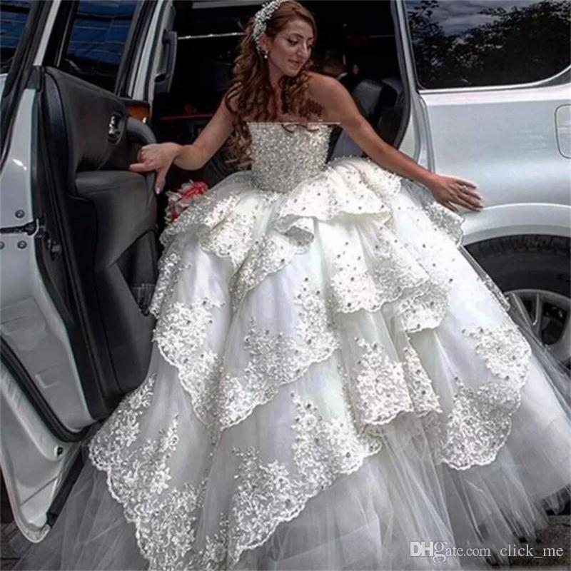 Vintage Lace Ball Gown Wedding Dresses Strapless Appliques Beads ...
