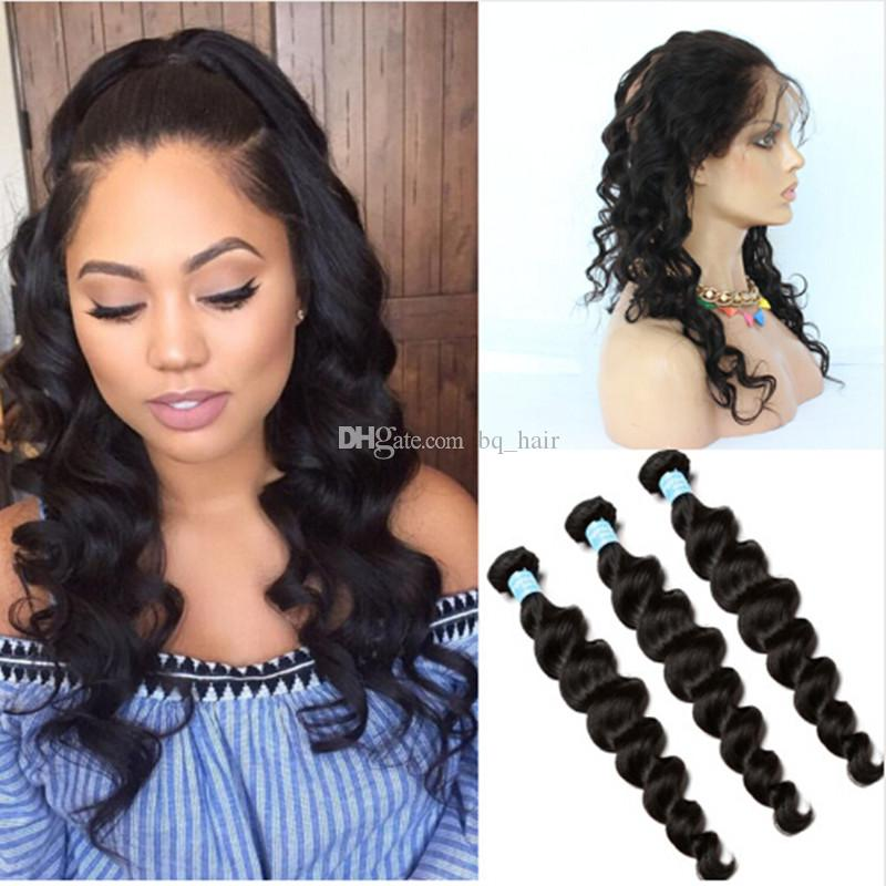 8a Peruvian Loose Deep Wave 360 Lace Frontal Closure With Bundles