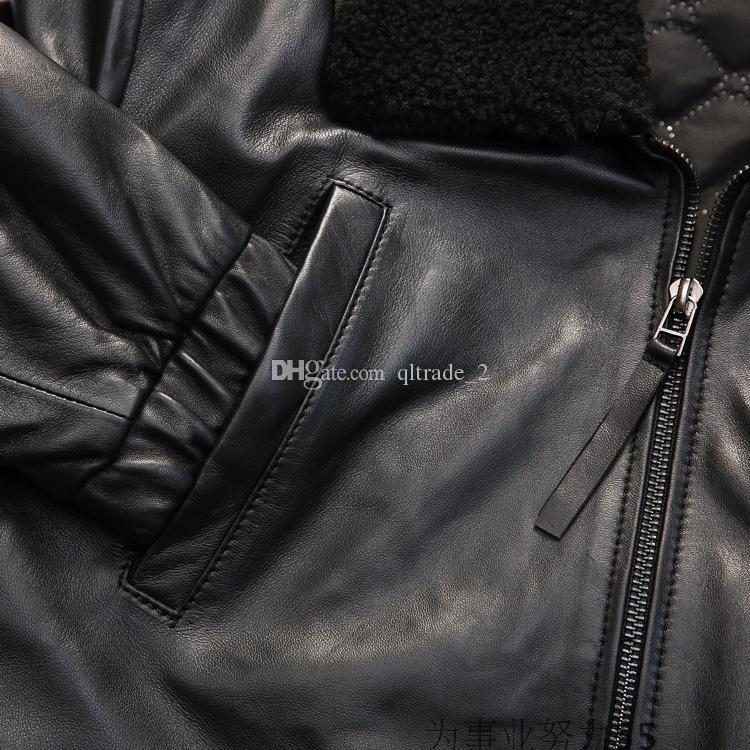 2017 black Lambskin lapel neck sheepskin flight leather suits motorcycle men leather jacket 100% genuine leather